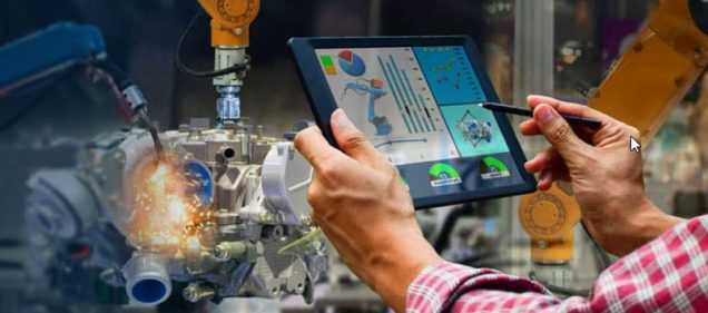 IBM Maximo APM system on tablet with robotic arm
