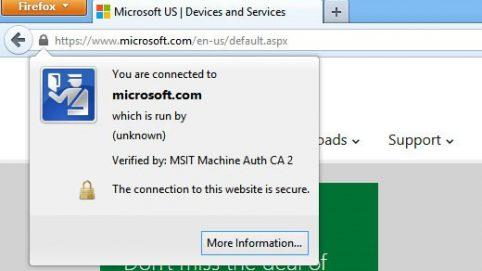 Microsoft SSL lock